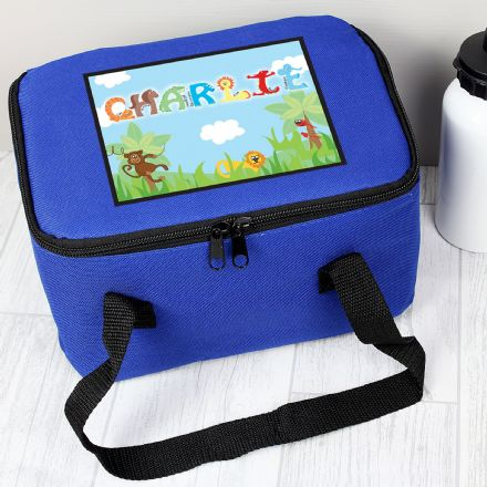 Personalised Animal Letter Kids Blue Lunch Bag